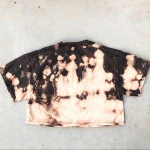 Gildan Tops - Appalachian State Black Bleached Crop Top